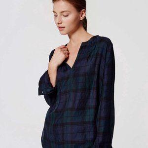 LOFT | Blue&Green Plaid Mockneck Turtleneck blouse